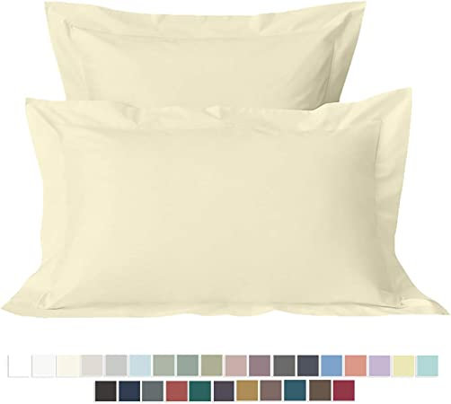 Pizuna 400 Thread Count Cotton Oxford Pillow Cases King Ivory 2 Pack, 100% Long Staple Cotton 3 Ft Pillow Cases, Luxurious Soft Sateen 50x90 Pillow