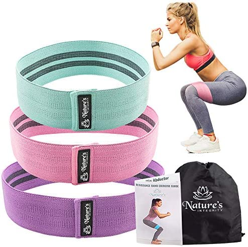 Nature's Integrity Booty Bands for Leg and Butt Exercises – Non Slip Fabric Resistance Loop Set for Women – Wide, Thick, Durable – Perfect for Home Workouts, Fitness, Toning Thighs, Hips, and Glutes