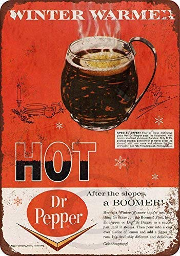Nice Tin Sign Aluminum Retro 1966 Hot Dr. Pepper and Rum Metal Sign 8 X 12 Inch