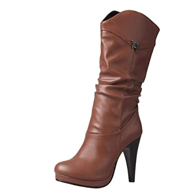 YE Femmes Cowboy Bottes à Talon Haut Aiguille Chaussure Hiver ... e601b74bb130