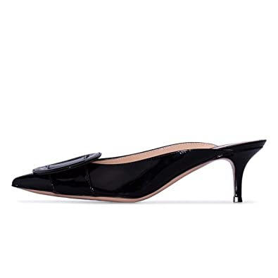 26a2a46372dbe YDN Women Comfort Pointed Toe Kitten Low Heel Mules Colgs Slip on Pumps  Slide Sandals Shoes
