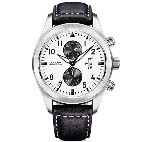 SINOBI Men Military Chronograph Wrist Watches Sub-dials Date Leather Sports Quartz Male Watch Black 2017