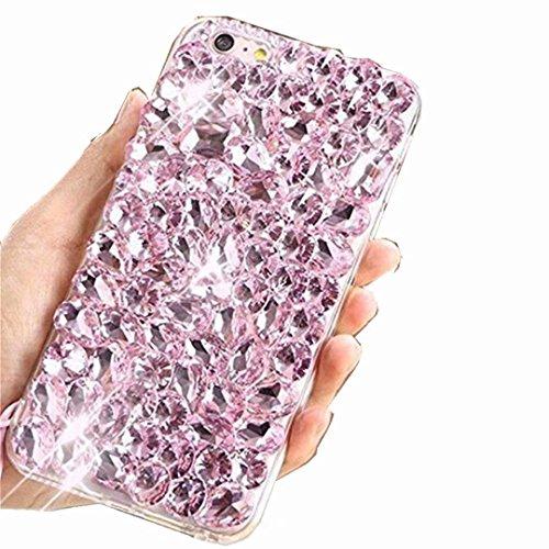 Alcatel Fierce 4 Case,Alcatel Allura Case,Alcatel Pop 4 Plus Full Crystal Diamond Case, 3D Handmade Luxury Sparkle Crystal Rhinestone Diamond Glitter Bling Clear TPU Case (Full/Pink)