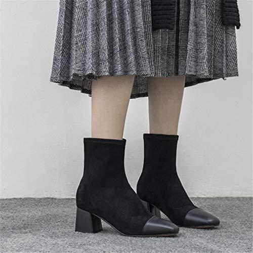 Del Botas Un Tobillo Mujeres Las Alto Cuero Caballero Otoño De Tacón Zapatos Yan Colorblock Invierno Gruesos Desnudas qwp5dxFW