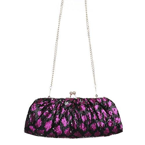 Damen Tasche, Abendtasche, Kleine Schultertasche Clutch, Synthetik, TA-K526 Schwarz Lila