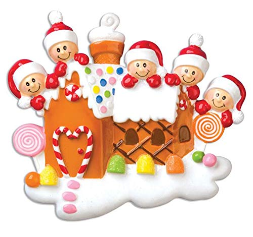 Polar X Gingerbread House with 5 Personalized Christmas Ornament (Family ()