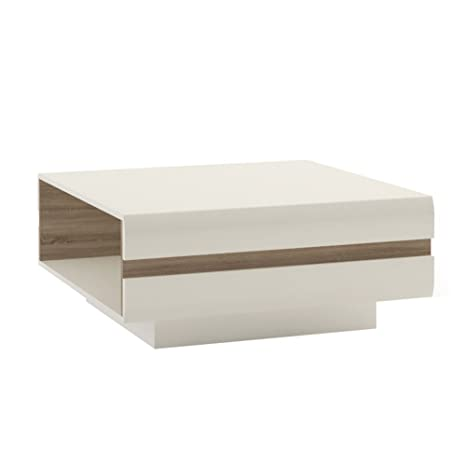 Pn Homewares Solna Large Designer Coffee Table In White High Gloss And Oak Trim For Living Room Modern Scandinavian Design Storage For Books