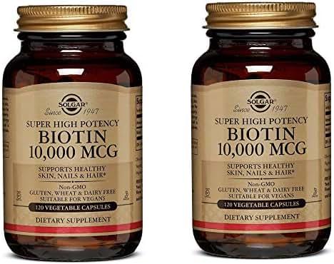 Super High Potency Biotin 10,000 mcg, Non-GMO (120 Vegetable Capsules) Pack of 2