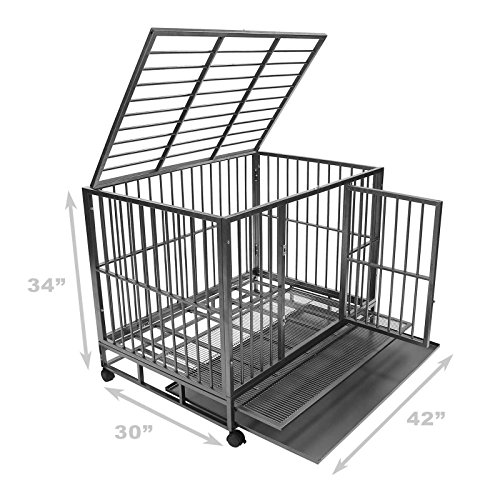 "SmithBuilt 42"" Large Heavy-Duty Dog Crate Cage - Two-Door Indoor Outdoor Pet & Animal Kennel with Tray - Silver"