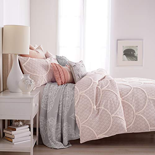 - Peri Home Chenille Scallop 100% Cotton Duvet Cover, King, Blush