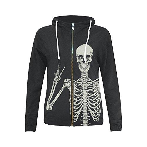 Custom Zipper - InterestPrint Custom Human Skeleton Skull Women's Zipper Hoodies Sweatshirt XL
