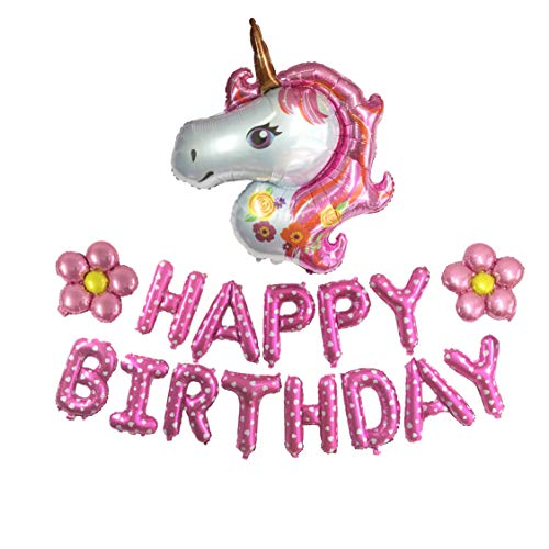 ZZART Happy Birthday Balloons Banner & Colorful Unicorn Balloons & Flower Balloons,Foil Balloons for Happy Birthday Party,Baby Shower Decoration (Z18) -