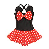 Kid Toddler Baby Girls Bathing Suit Bow Dot One Piece Swimsuit Swimwear, Red Black, Large