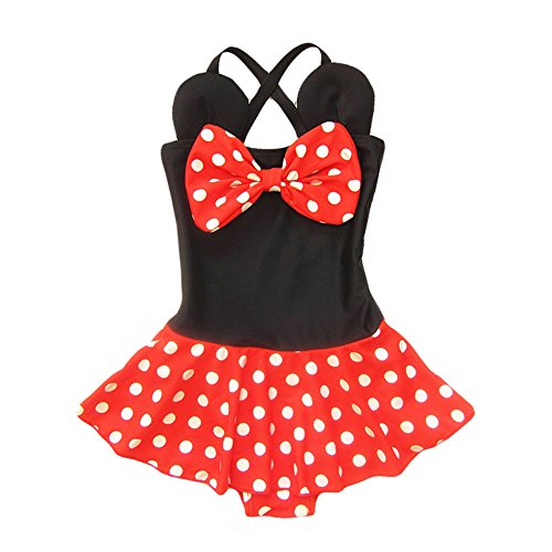 Kid Toddler Baby Girls Bathing Suit Bow Dot One Piece Swimsuit Swimwear, M 3-4t kid girls, Red Black