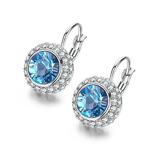SBLING Platinum-Plated Leverback Drop Earrings Made with Blue Swarovski Crystals (2.2ct)