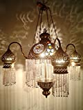 BR264 4 Shades Moroccan Jeweled Pendant Light/Lamp Chandelier For Sale