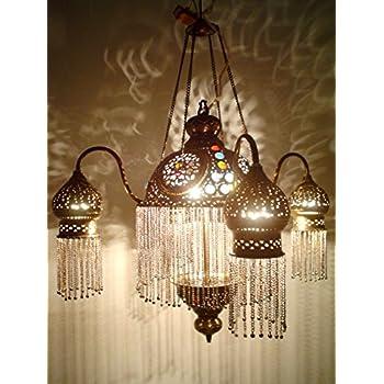 Amazon Com Br264 4 Shades Moroccan Jeweled Pendant Light