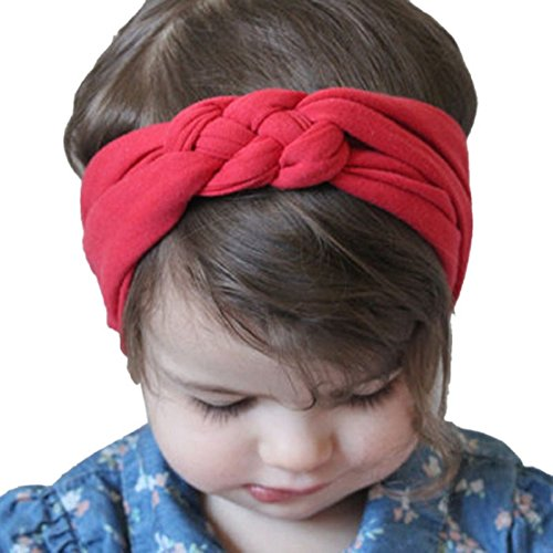 Tonsee 2015 neue Baby Baumwolle Stirnband Weben Headwrap Kinder Kopf wickeln Foto Prop Haarreifen (rot)