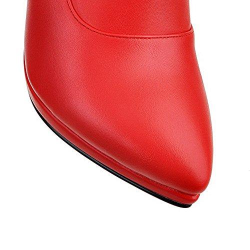 VogueZone009 Damen Stiletto Rein Spitz Zehe Reißverschluss Stiefel Rot