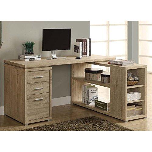 Monarch Reclaimed-Look Left or Right Facing Corner Desk, Natural Monarch Specialties
