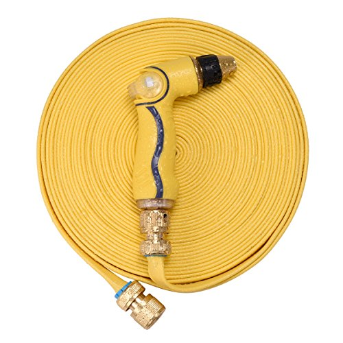 """e-HOME 50ft Garden Hose with Brass Fittings - Quick Connect Sets and 3/4""""Connector, High Pressure Spray Nozzle - Adjustable Watering Pattern, Free Gifts - Faucet Adapter and Extra Rubber Washers (Gasket Tpe)"""
