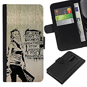 LG G3 D855 D850 D851 , la tarjeta de Crédito Slots PU Funda de cuero Monedero caso cubierta de piel ( Greatness Motivational Quote Success Art Grafiti)