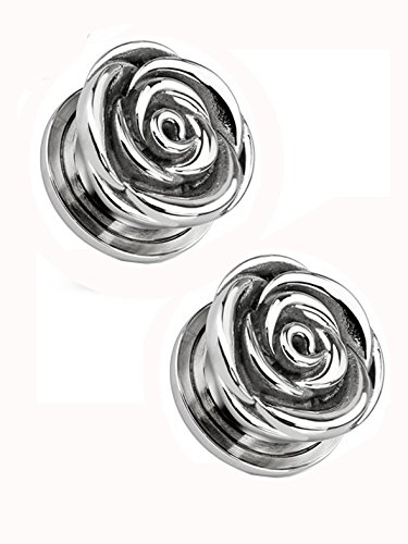 Rose Bud Screw On Ear Plug (14 mm, 9/16 Inch) - 2 Piece