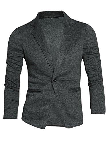 [Allegra K Mens Long Sleeves Peaked Lapel Button Closure Blazer Dark Gray M] (Gray Blazer Jacket)