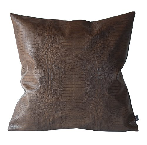 Kdays Dark Brown Crocodile Thick & Soft Faux Leather Pillow Cover Decorative For Couch Throw Pillow Case Brown Leather Cushion Cover Solid Leather Pillow 20x20 Inches (Brown Leather Couches)