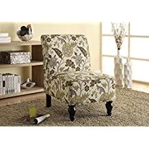 Monarch Specialties Gold Floral Traditional Accent Chair, Brown