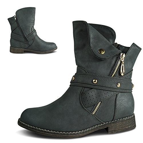 Schuhtraum Women's Biker Boots Grey xHqTQgc