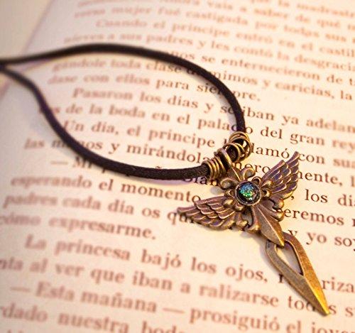 (Angelic Cross Necklace - Antique golden necklace with Angel Cross Sword)