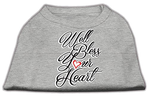 Mirage Pet Products Well Bless Your Heart Screen Print Dog Shirt Grey Med (12)