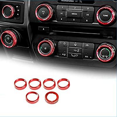 Tuneway 6Pcs Air Conditioner Switch Knob Ring Button Cover Trim for F150 Accessories XLT 2016 2017 2018 2019 2020 Blue