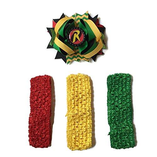 [Rush Dance Cartoon Princess Superhero Bottle Cap Boutique Hair Bow Clip + Band (Green Yellow Red Robin -] (Dancing Dolls Costumes)