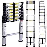 12.5ft EN131 Telescoping Ladder Aluminum Telescopic Extension Multi Purpose Ladders