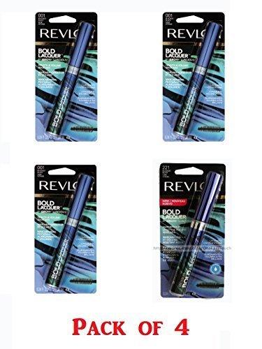 Revlon Bold Lacquer Grow Luscious Length Volume Mascara, Blackest Black 221/ 001 (Pack of 4)