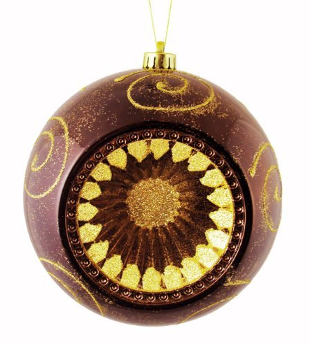 CC Christmas Decor Mocha Brown Retro Reflector or Shatterproof Christmas Ball Ornament, 8 by CC Christmas Decor