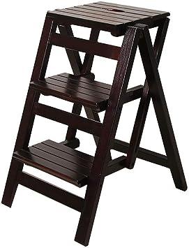 Taburete para Adultos Escalera Estable de Pedal Sólido Antideslizante Portátil de Madera Maciza, Silla Plegable Multifunción con Soporte de Flores/Negro: Amazon.es: Bricolaje y herramientas