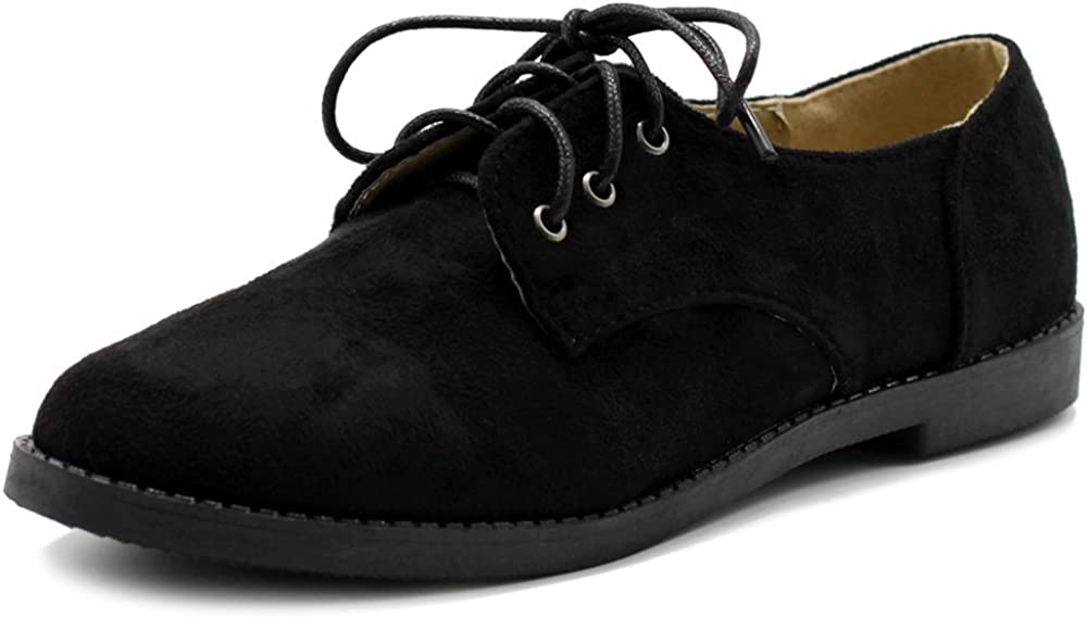 | Ollio Women Classic Flat Shoe Lace Up Faux Suede Oxford | Oxfords