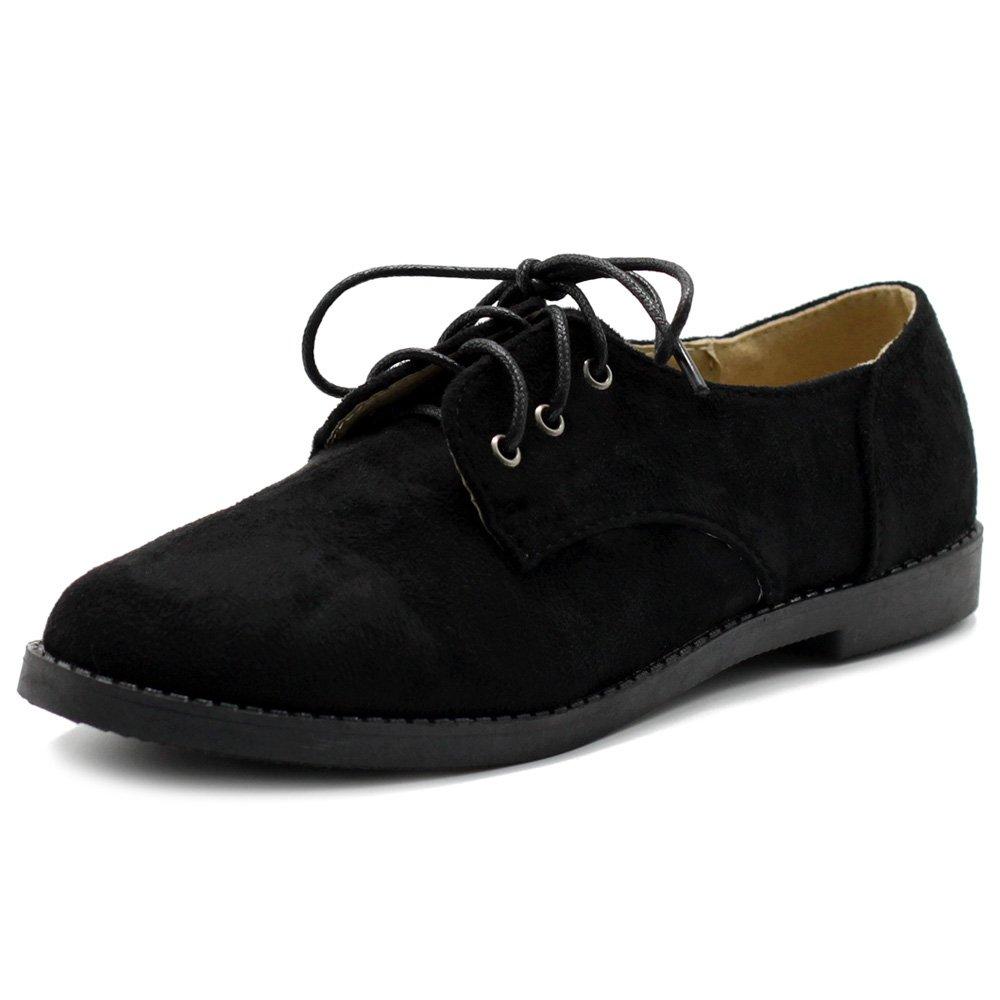 Ollio Women Classic Flat Shoe Lace up Faux Suede Oxford ZM2910(7.5 B(M) US, Black)