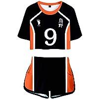 Flyself Unisex Haikyuu Crop Top and Shorts Set Cosplay Haikyuu Kozume Kenma Gakuen Koukou Costume Sports Suit High…