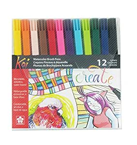 Sakura XBR-12SA 12-Piece Koi Assorted Coloring Brush Pen Set
