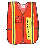 "Orange Security Safety Vest with 2"" Yellow / Silver Reflective"