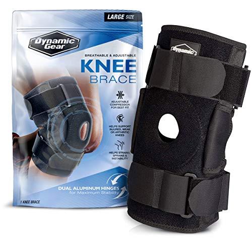 Dynamic Gear - Rodillera para rótula abierta, doble bisagra de estabilidad, neopreno acolchado ajustable apoyo de compresión para desgarros de menisco, ACL, tensiones, dolor de rodilla.(Large)