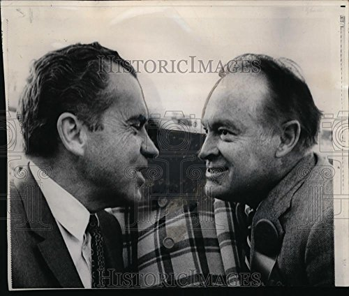 1969 Wire Photo President Elect Richard Nixon and Bob Hope Compare Noses -