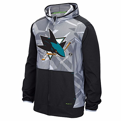 Center Performance (Reebok San Jose Sharks NHL Grey TNT Speedwick Performance Center Ice Full Zip Hoodie For Men (L))