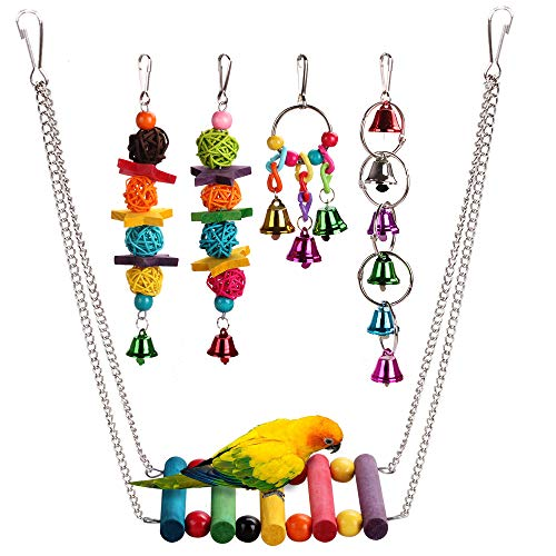 HAPPYTOY 5pcs Bird Parrot Toys Play Set for Bird Cage, Color