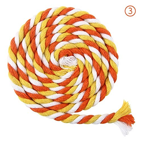 FINCOS 100 m/lot 100% Cotton 5 mm 3- Colored Rope Cotton Drawstring Cord Braided Cords for Bag Shoes Thick Home Craft Material Supplies - (Color: 3) by FINCOS