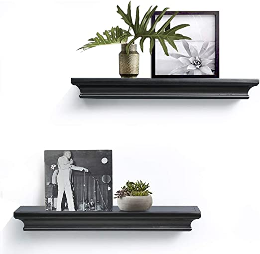 "Modern Black Free Floating Wall Mounted Shelf 18/"""
